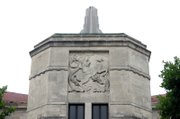 """St. George and the Dragon"" on the facade of Twente Hall"
