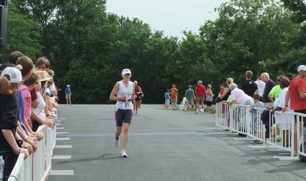 Coming in for the finish on my first triathlon. I finished in 1 hour, 35 minutes.