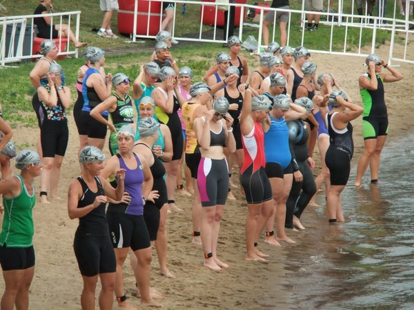 The women's 30-39 age group heat gets ready to begin the swim. The race included a 400-meter swim, 13-mile bike ride and 5k (3.1-mile) run.