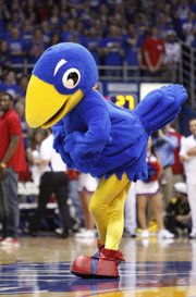 The new Centennial Jayhawk is presented to the fieldhouse during a timeout in the first half on Saturday, Feb. 25, 2012.
