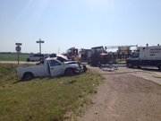 A pickup truck and a tractor that was pulling a cultivator collided Tuesday afternoon, June 26, 2012, at the intersection of U.S. Highway 24 and Kansas Highway 237 in Jefferson County. The accident site is west of the community of Perry.