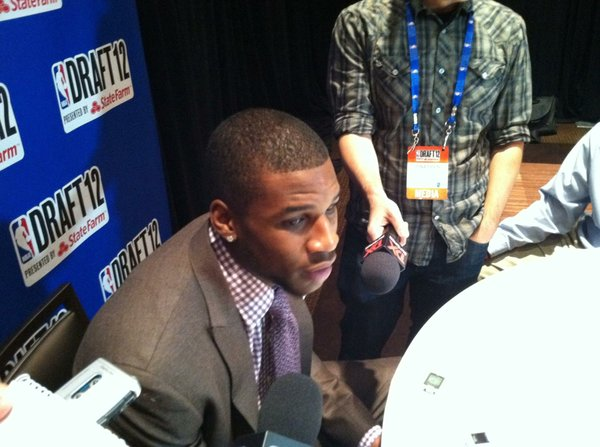 Thomas Robinson speaks to reporters during interviews on Wednesday, June 27, in New York.