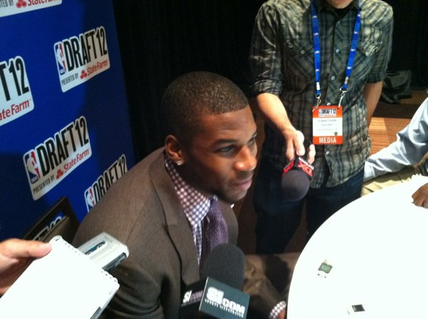 Former Kansas forward Thomas Robinson answers a question during interviews on Wednesday, June 27, in New York.