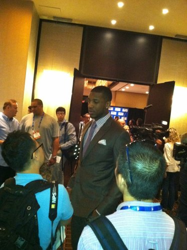 Thomas Robinson walks through the NBA Draft media room on Wednesday, June 27, in New York.