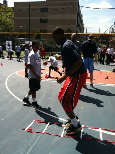 Former Kansas forward Thomas Robinson takes part in an NBA Fit demonstration near Harlem, New York, on Wednesday, June 27, 2012.