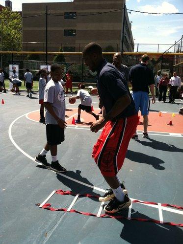 Former Kansas forward Thomas Robinson takes part in an NBA Fit demonstration near Harlem, New York, on Wednesday, June 27, 2012.