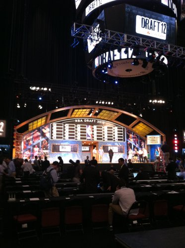 The stage is set — literally and figuratively — for tonight's NBA Draft in Newark, N.J.