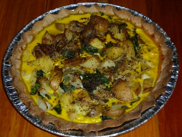 Potato Pie made with local potatoes, onions, kale and eggs in a local ...