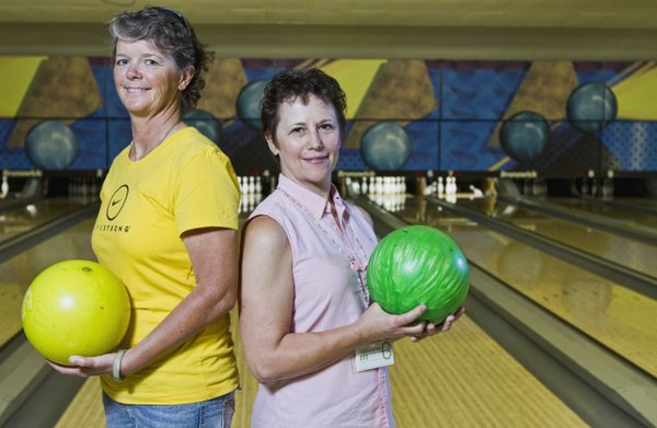 "Michelle Derusseau, a Livestrong leader for Douglas County, and Cindy Sargent, founder of the Catch a Break fund, have teamed up to organize a new bowling event ""Rock'N Bowl: A Strike in the Fight Against Cancer"" which is July 21. Half of the money will go to Livestrong and half will go to Catch a Break."