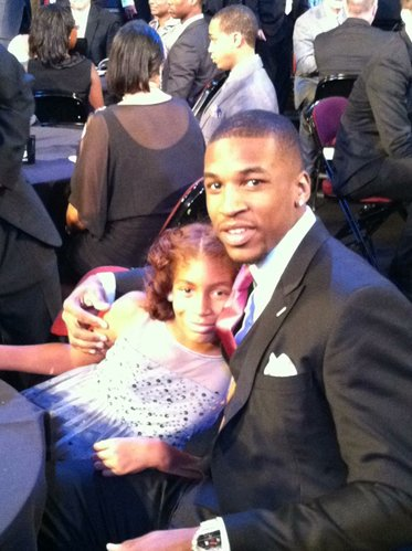 Former Kansas University forward Thomas Robinson hugs 9-year-old sister Jayla before the start of the NBA draft on Thursday, June 28, 2012, in Newark, N.J.
