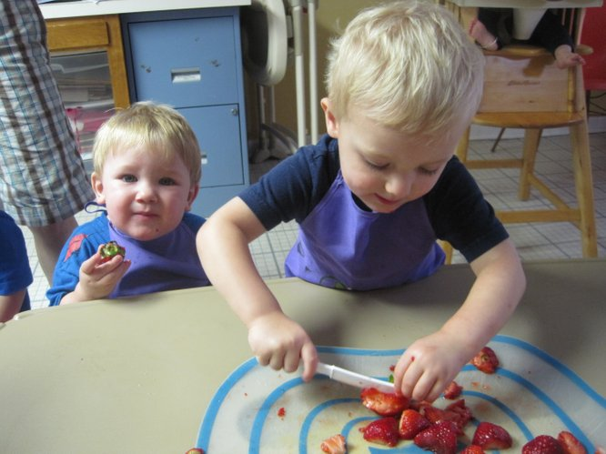 Learning to safely manipulate child-friendly utensils to cut strawberries.
