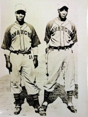 From left, Kansas City Monarchs players Willie Brown and Ted Strong were team members, and now are part of Spencer Research Library's small but interesting collection of memorabilia from the Negro Leagues era.
