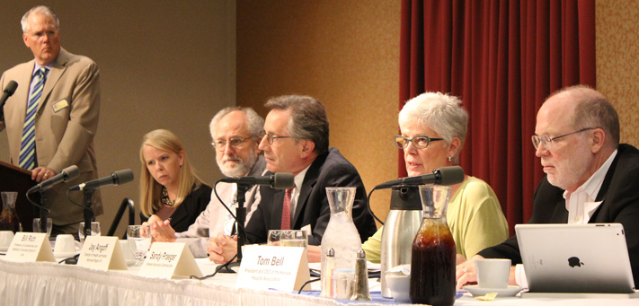 The Kansas Health Institute convened a July 2 discussion of the Supreme Court's health reform ruling and its immediate implications for Kansas. Panelists were (from right) Tom Bell, Sandy Praeger, Jay Angoff, Bill Rich, Suzanne Schrandt and moderator Robert St. Peter. About 80 people attended in person and 82 attended via live webcast.