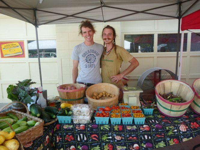 Wakarusa Valley Farms shows off a dwindling supply of produce by the end of the market day.  Proof positive that when it comes to market shopping, arriving early has it's advantages.