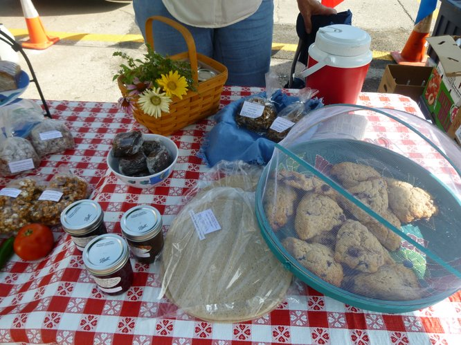 Delicious bake goods, jellies and even a tomato or two from The Yeast We Can Do bakery at Cottin's Hardware Farmers Market.