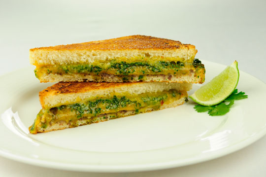 Organic Valley's Grilled Cheese with Cilantro Chipotle Pesto and Black Bean Spread (photo from www.organicvalley.coop).
