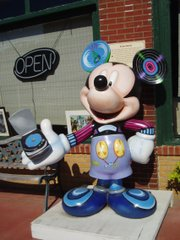Mickey Mouse himself greets passersby in Marceline, Mo., hometown of Walt Disney.