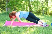 For the side plank twist, bring the top arm under the body and rotate. Hold for 5 seconds and return to start. Do 6 to 10 reps, then switch sides.