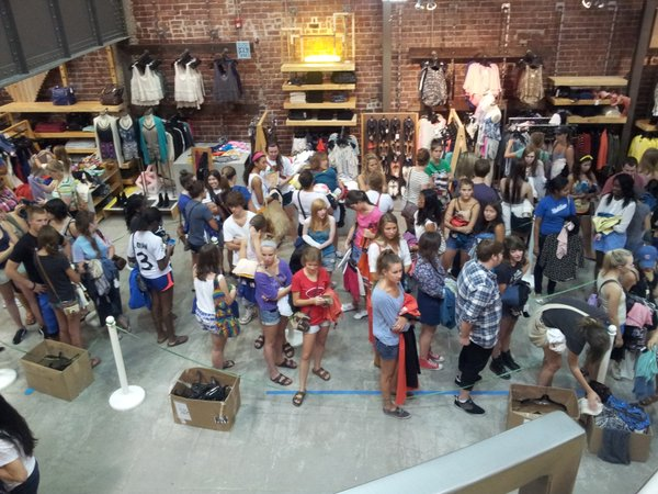 Line inside Urban Outfitters.