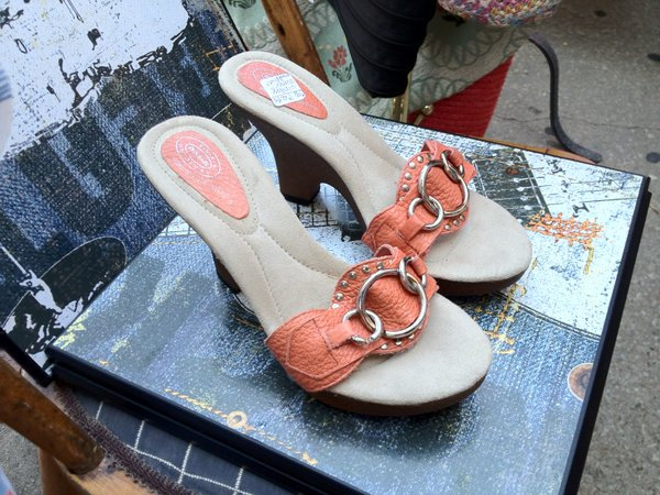 Dr. Scholl's wooden-heel sandals, $4.95 outside the antique mall (too small)