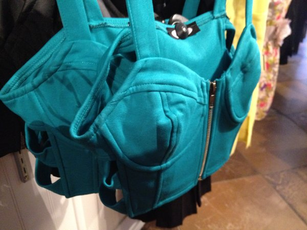 Aqua bustier with front-zipper and cutout sides, Kieu's