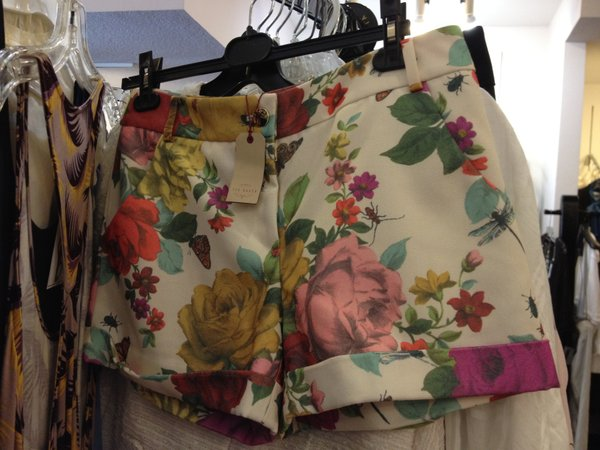 Ted Baker rose print shorts, $99, Spectators (probably a good deal, but still too much for me)