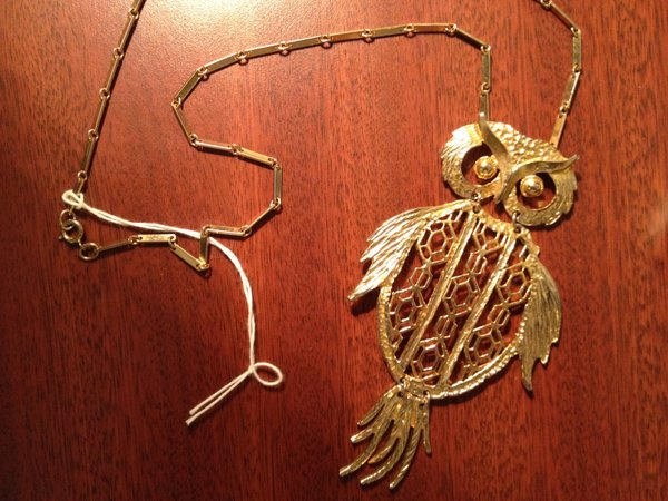1970s owl necklace, $5, antique mall