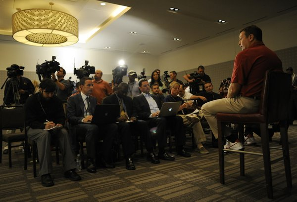 Oklahoma coach Bob Stoops answers questions at Big 12 Media Days on Monday, July 23, 2012, in Dallas.