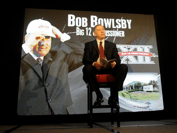 Big 12 commissioner Bob Bowlsby speaks at NCAA college football Big 12 Media Days, Monday, July 23, 2012, in Dallas.