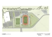 This architect rendering of the proposed recreation center in northwest Lawrence shows the site plan with the rec center, at left in white, and the Kansas University track stadium. The drawing was provided by Paul Werner Architects and GouldEvans.