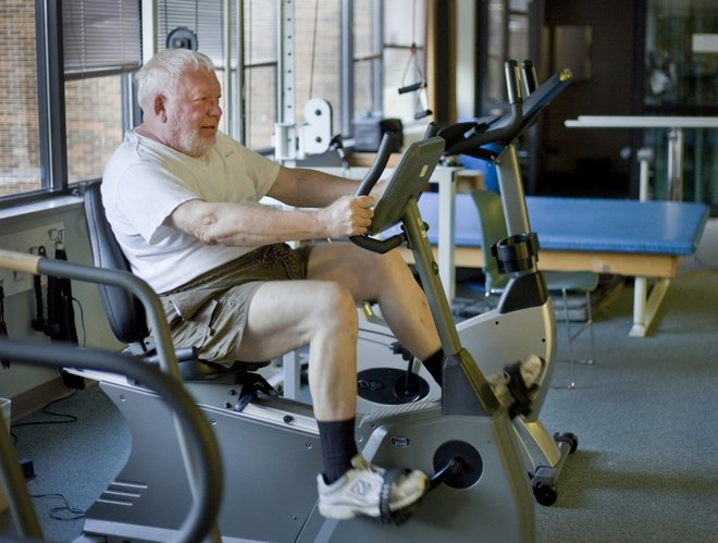 Graham Kreicker, Lawrence, works out on a cycling machine at Lawrence Memorial Hospital, part of his five-day-a-week fitness routine. Kreicker makes a point to stay active and fit by participating in a Fit For Life Program through the Kreider Rehabilitation Services at LMH.