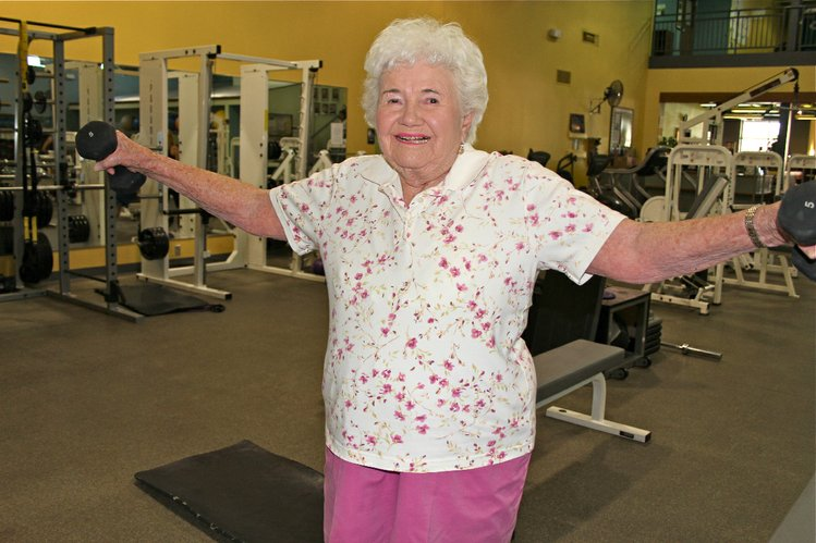 Claudine Scottie Lingelbach, 90, Lawrence, works out several times a week at BodyBoutique.
