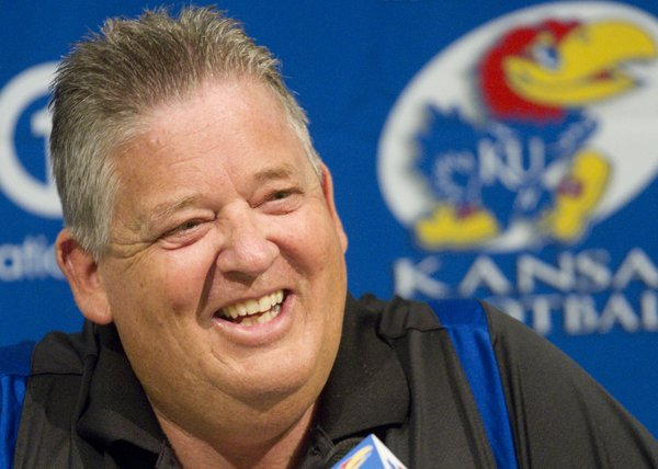 "Kansas University football coach Charlie Weis holds a news conference at KU on Wednesday, August 1, 2012, the day before the Jayhawks' fall camp starts. Weis spoke about the team's depth chart and his eagerness for the season to start, saying, ""I'm more motivated than I've ever been."""