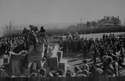 Preparation for the homecoming bonfire, 1912.