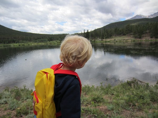 The kiddo takes in the beauty.