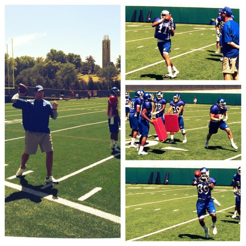 KU quarterbacks coach Ron Powlus works with his QBs, while wideouts (from top to bottom), Tre Parmalee, Kale Pick and JaCorey Shepherd run through drills at Sunday's practice.