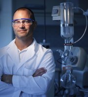 Cory Berkland, professor of pharmaceutical chemistry is pictured on Monday, July 2, 2012 in his lab at the Multidisiplinary Research Building, 2030 Becker Dr. Becker is deleloping ways for administering pharmaceuticals by way of a ventilator. 