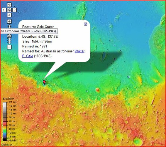 Location of Gale Crater - from Google Mars