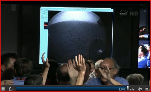 Low res image from Curiosity. If I understood correctly the rover landed 232M from the landing target.