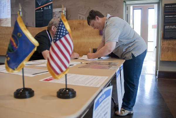 With turnout low this morning, most polling places had just seen a few voters for the primary election by the time Sara Wentz cast her ballot at the Carnegie Building around 9:30 a.m.