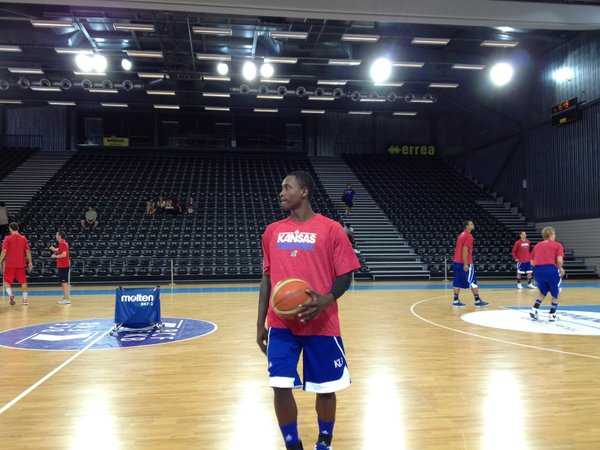 Kansas freshman guard Rio Adams warms up prior to KU's second exhibition game against the Swiss national team on Wednesday afternoon in Fribourg, Switzerland.