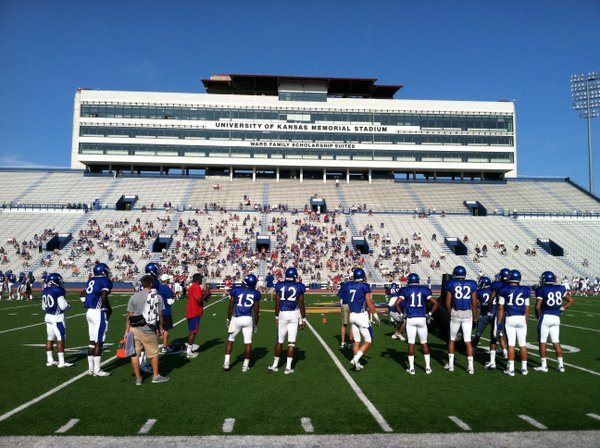 The KU football team opened up practice to the public on Saturday, on a beautiful day at Memorial Stadium.