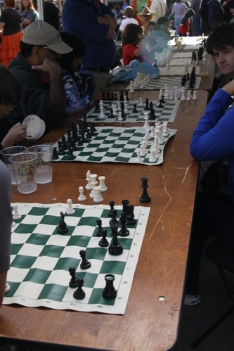 Cordley Elementary School Chess Tables at Cottin's Hardware Farmers Market.
