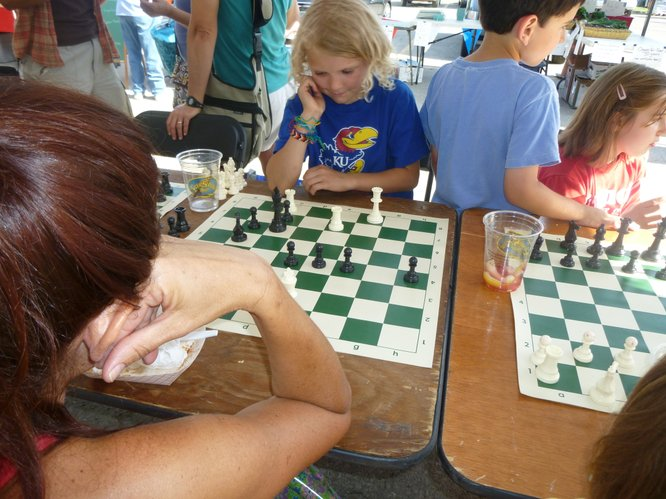 Concentration is key during a challenging game of chess.