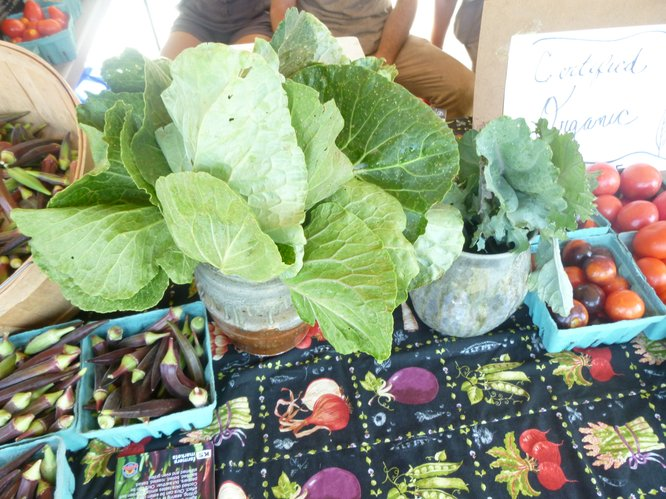 Chard, Kale, Heirloom Tomatoes, Okra and more from Wakarusa Valley Farm at Cottin's Hardware Farmers Market.