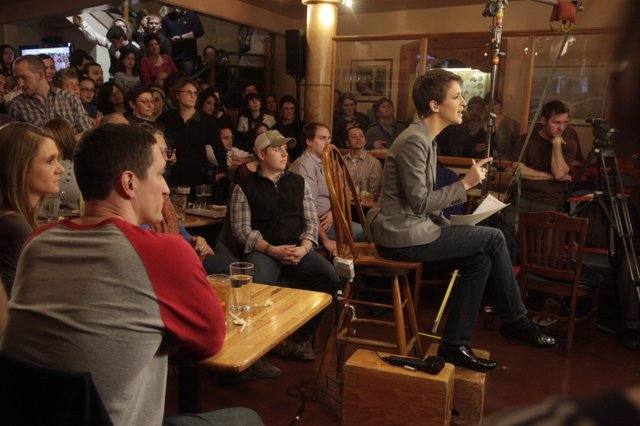 """""""Let's Send Rachel to London"""" Campaign starts now! MSNBC's Rachel Maddow hosting her show from The Free State Brewery in February 2011. LJWorld Photo by Richard Gwin"""