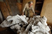 Fossil hunter Alan Detrich, climbs through a pile of triceratops bones while he talks about the find that was uncovered by he and other members of his crew near Jordan, Montana in late July and early August of 2012.