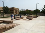 Here's what Wescoe Beach looks like, as of Thursday. Think more benches, fewer concrete planters. Trees will be planted later.