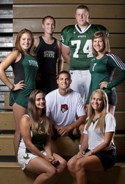 Free State senior fall sport athletes are, seated, from left, Emily Sadosky, tennis; Rigby McClure, soccer; and Sadie Devin, golf; and, standing, from left, Morgan Miller, cross country; John Corbett, cross country; Cody Stanclift, football; Katy Davis, volleyball.