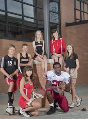 Lawrence High school fall sports team representatives.From left standing are Johannes Reiber, soccer, Gavin Fischer and Grace Morgan, cross country, Zoe Reed, volleyball and Attie Pennybaker, golf. Seated are Abby Gillam, tennis and Asaph Jewsome, football.